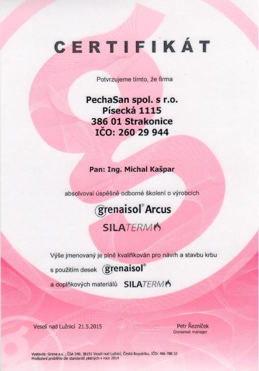 Certifikát Grena